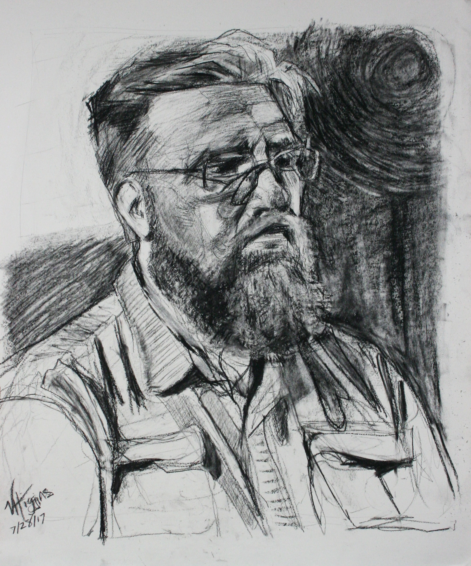 Victoria Higgins did this 3-hour conte drawing.