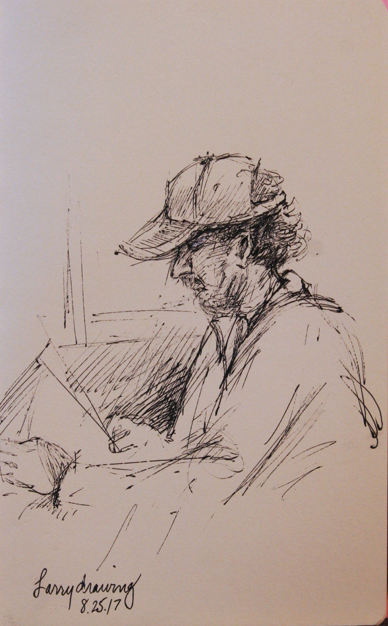 Nancy Lick did this sketch of Larry Zuzik drawing John Troxell.
