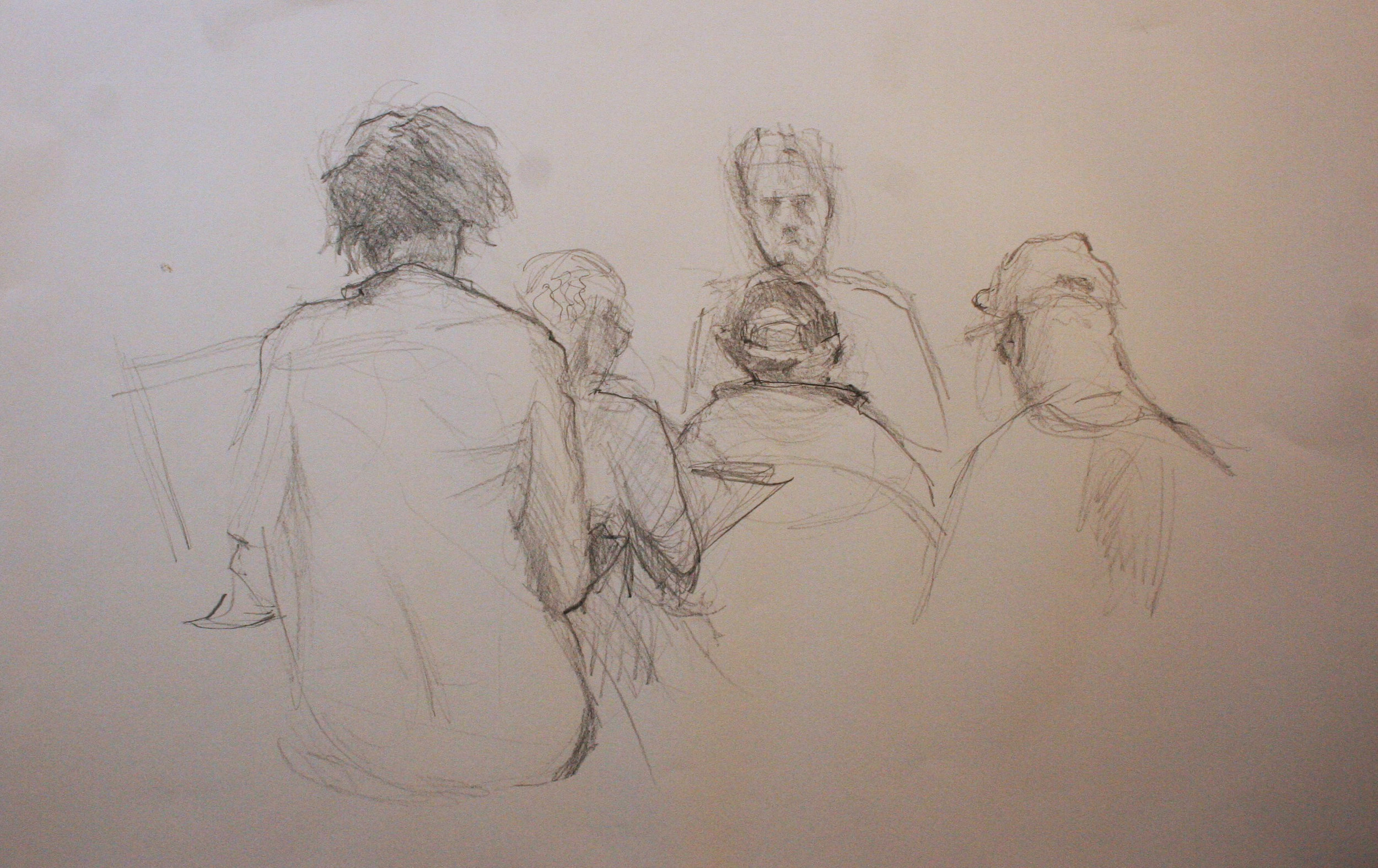 William Leddy did this drawing of the artists drawing John Troxell.