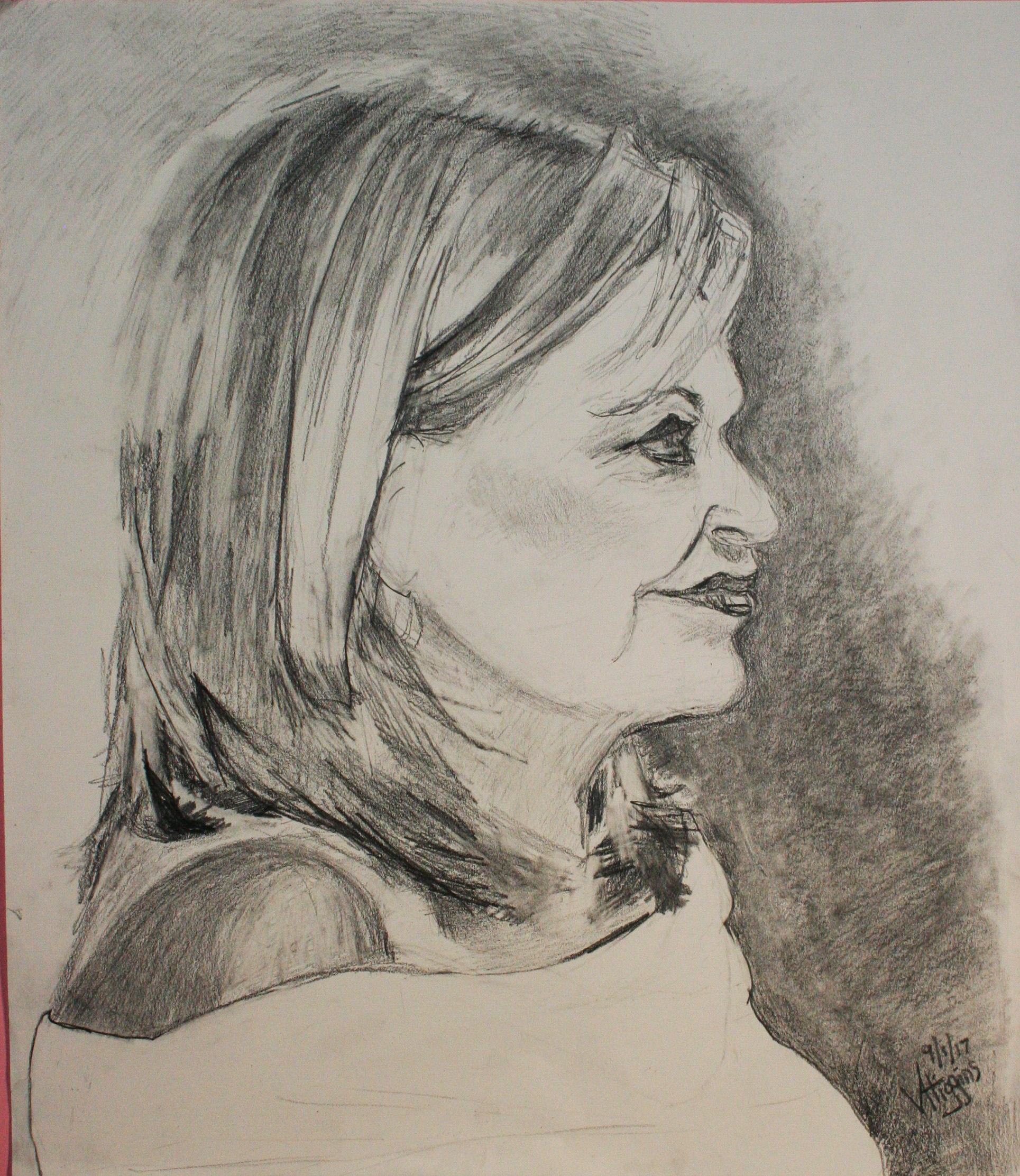 Victoria Higgins did this two and a half hour conte drawing.