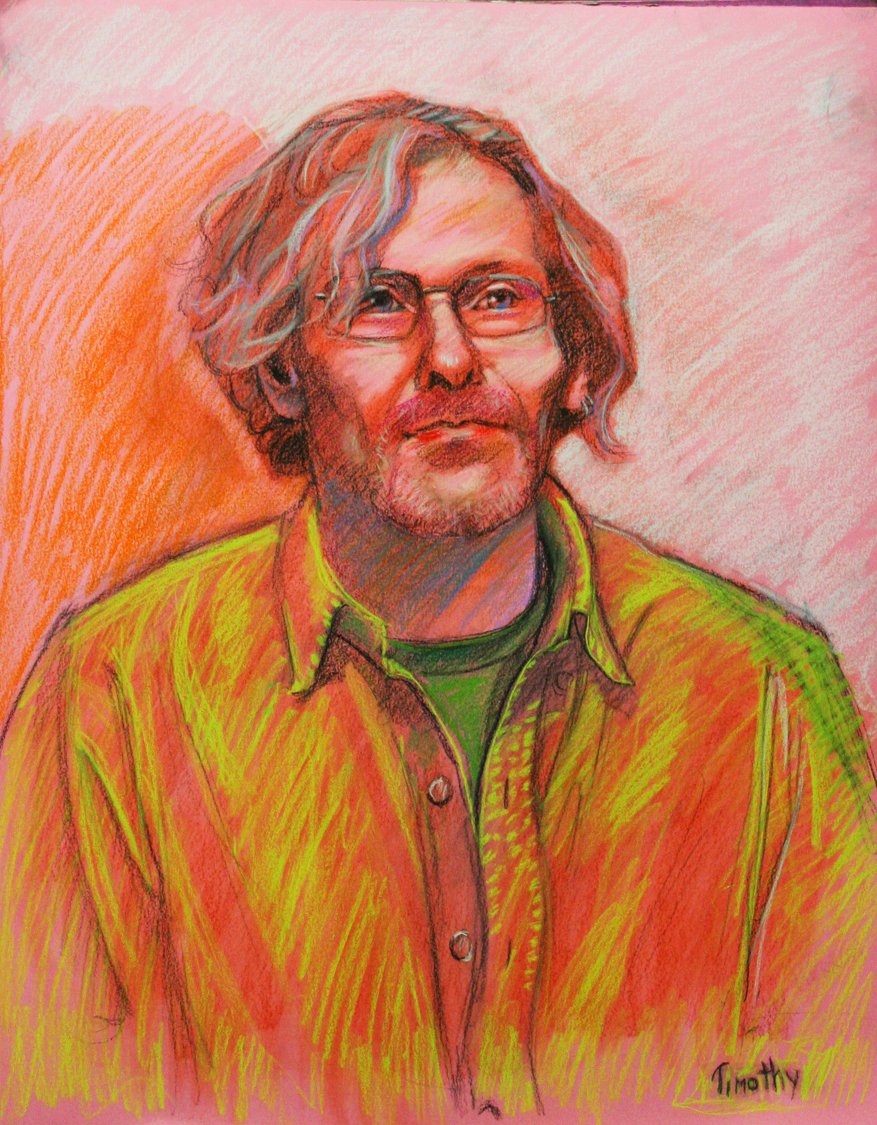 Ted Myers drawn at Forest City Brewery. pastel
