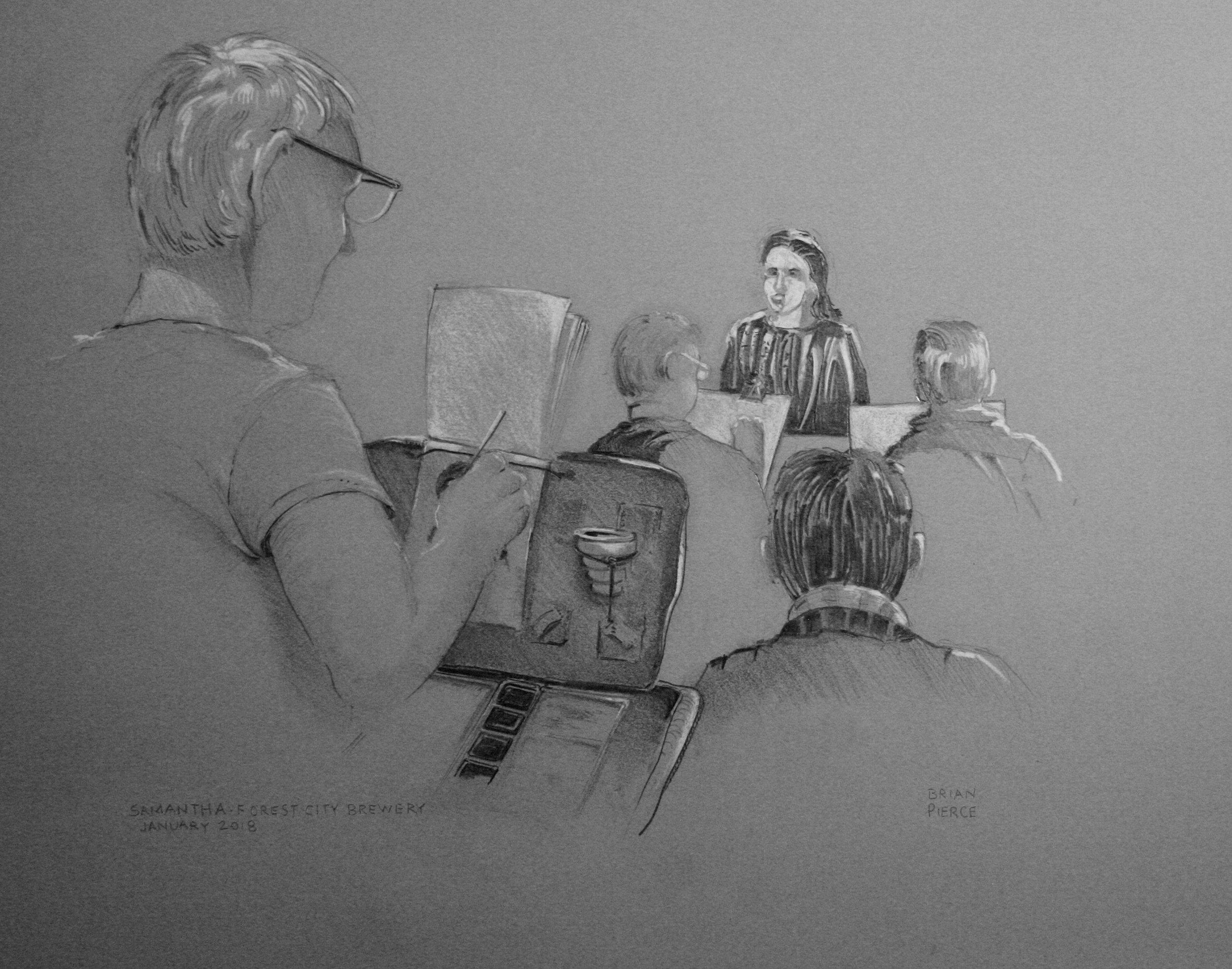 Brian Pierce did this drawing of the PCPA drawing Samantha.