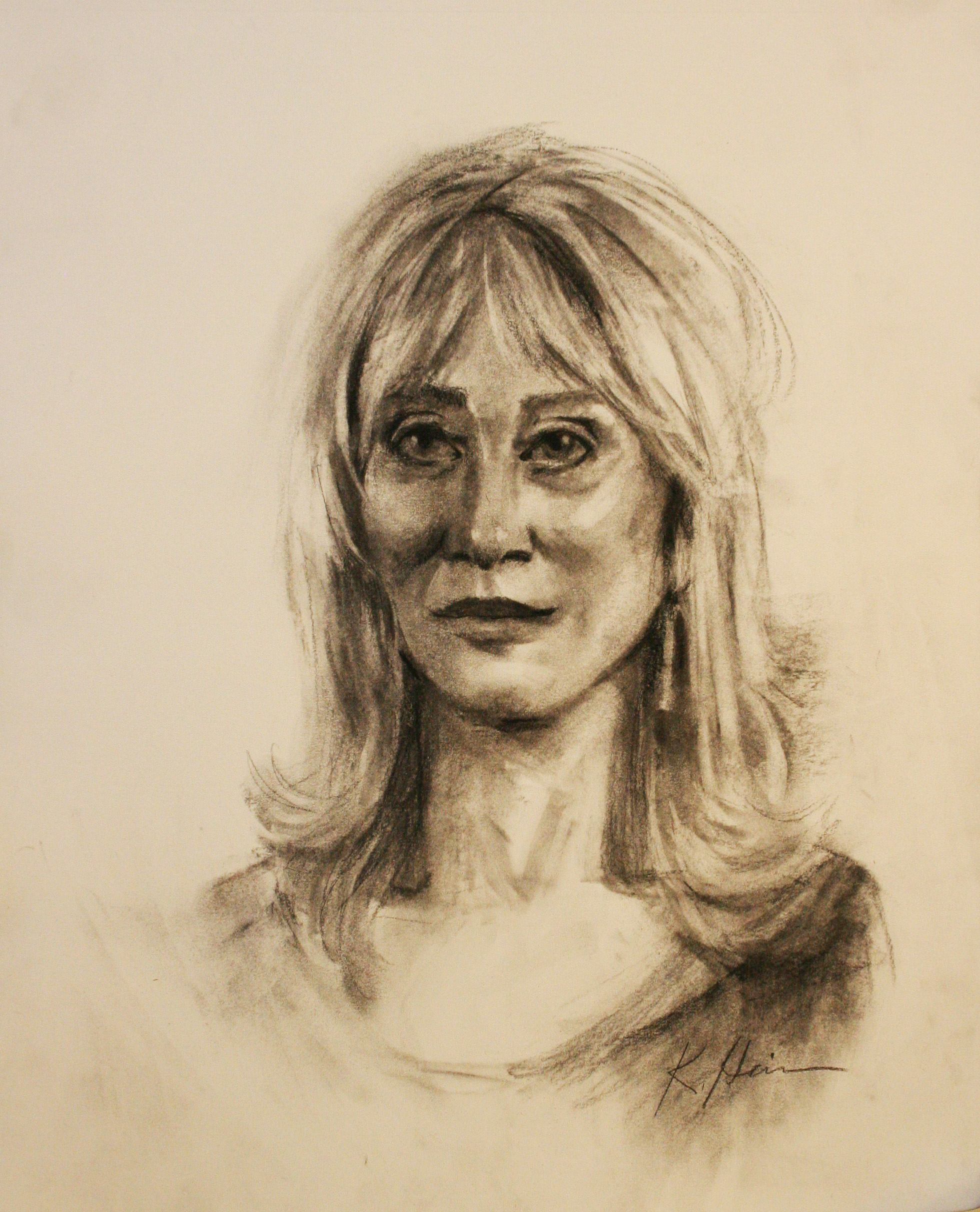 Kathryn Heim did this charcoal drawing.