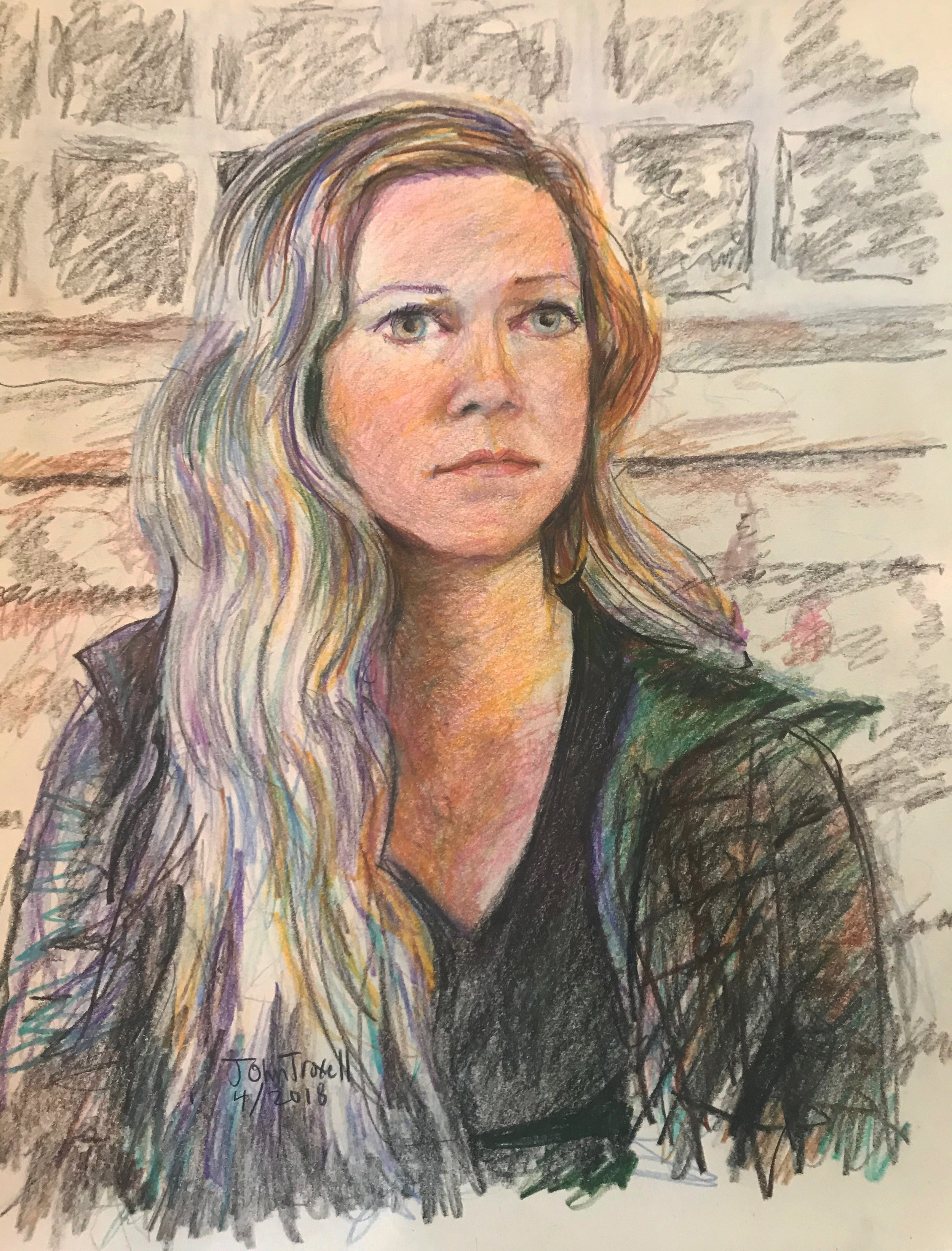 John Troxell did this colored pencil drawing of Jodi Gilmore.
