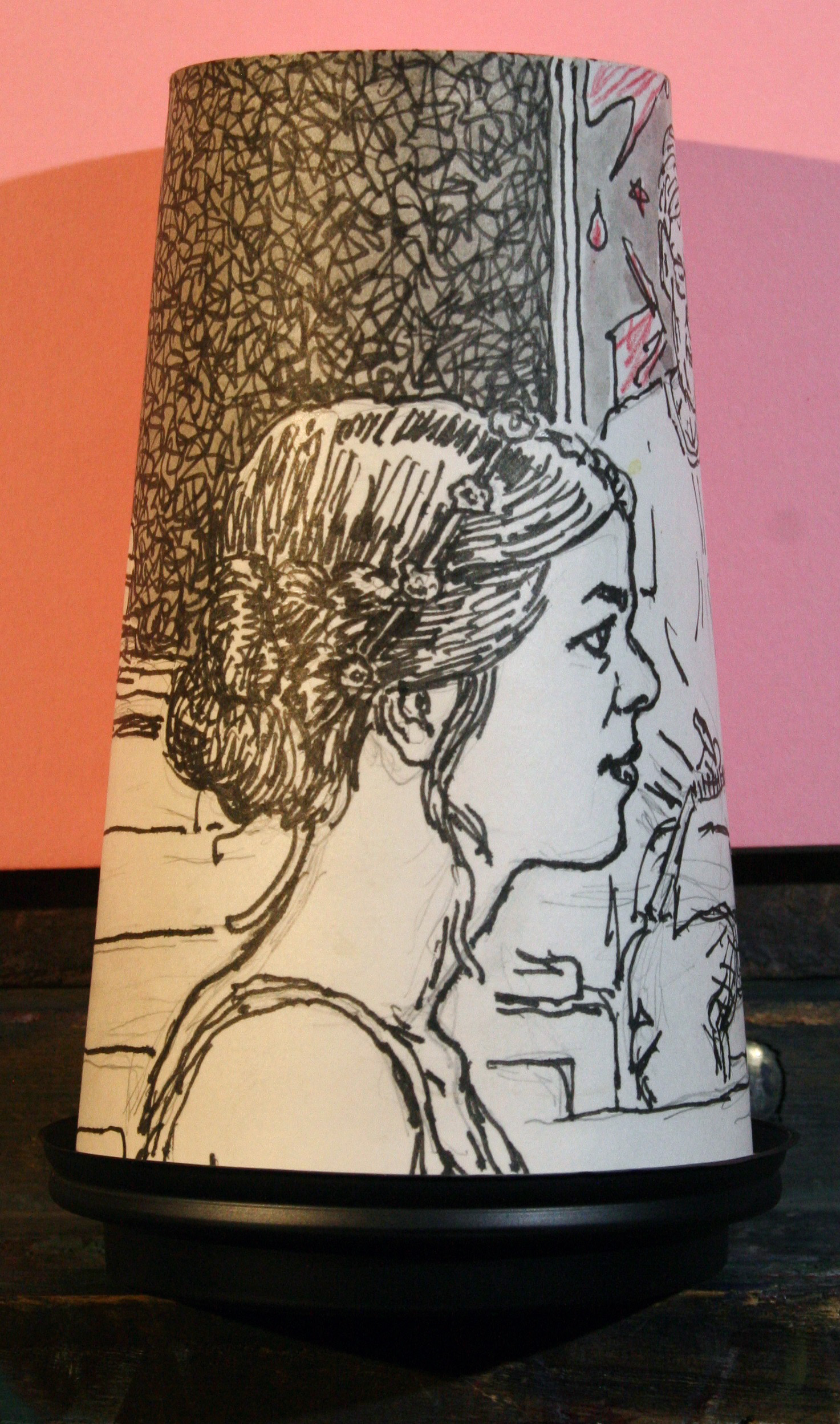 Jack Flott's coffee cup portrait of Emily.