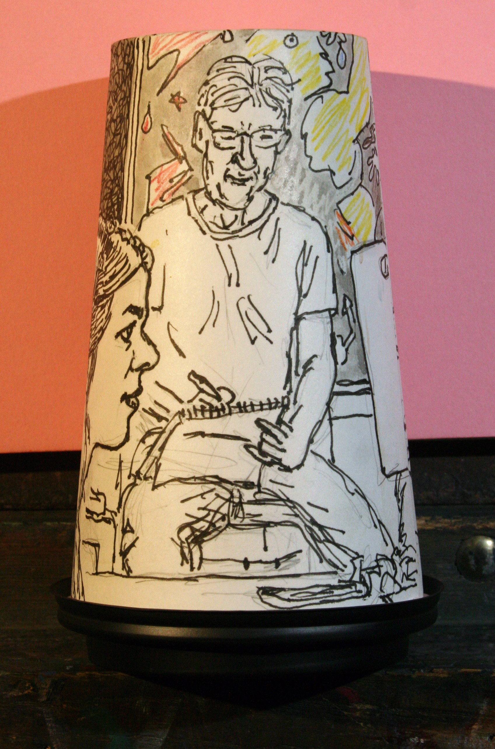 The back side of Jack Flotte's coffee cup portrait of Emily (showing John Troxell).
