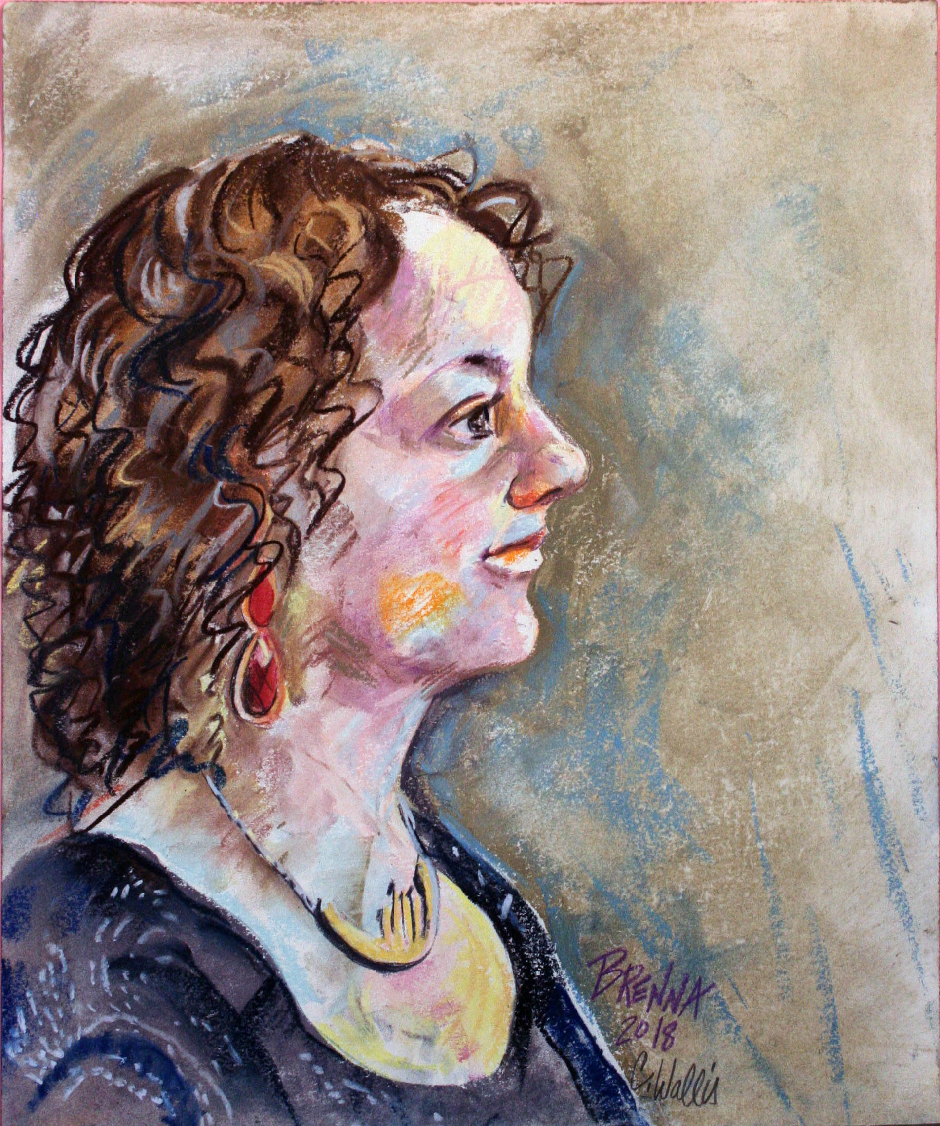 Christine Wallis did this pastel and conte drawing.