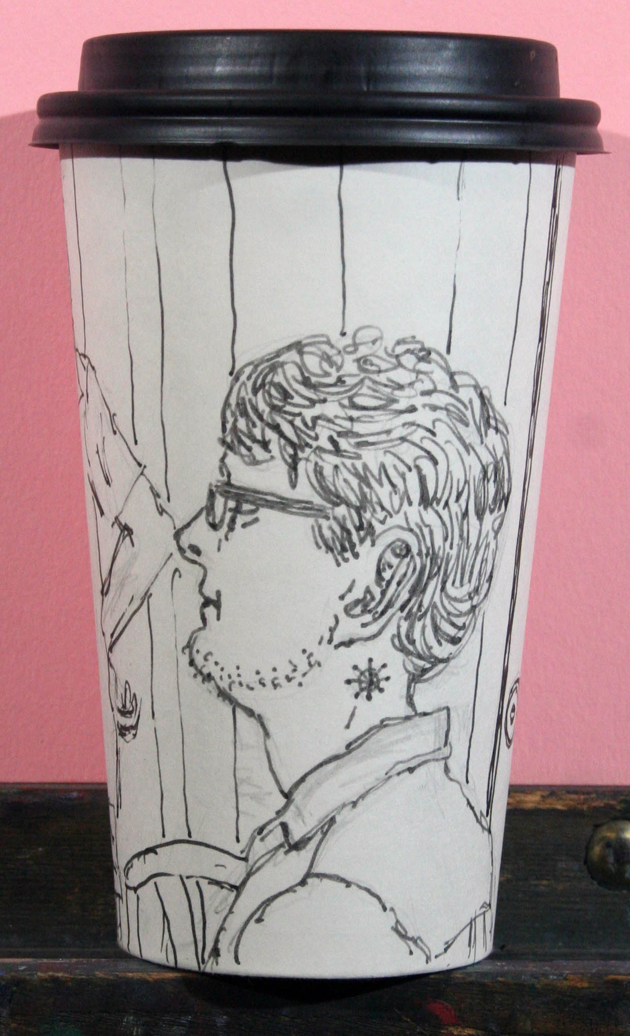 Jack Flotte's coffee cup portrait of Tom.