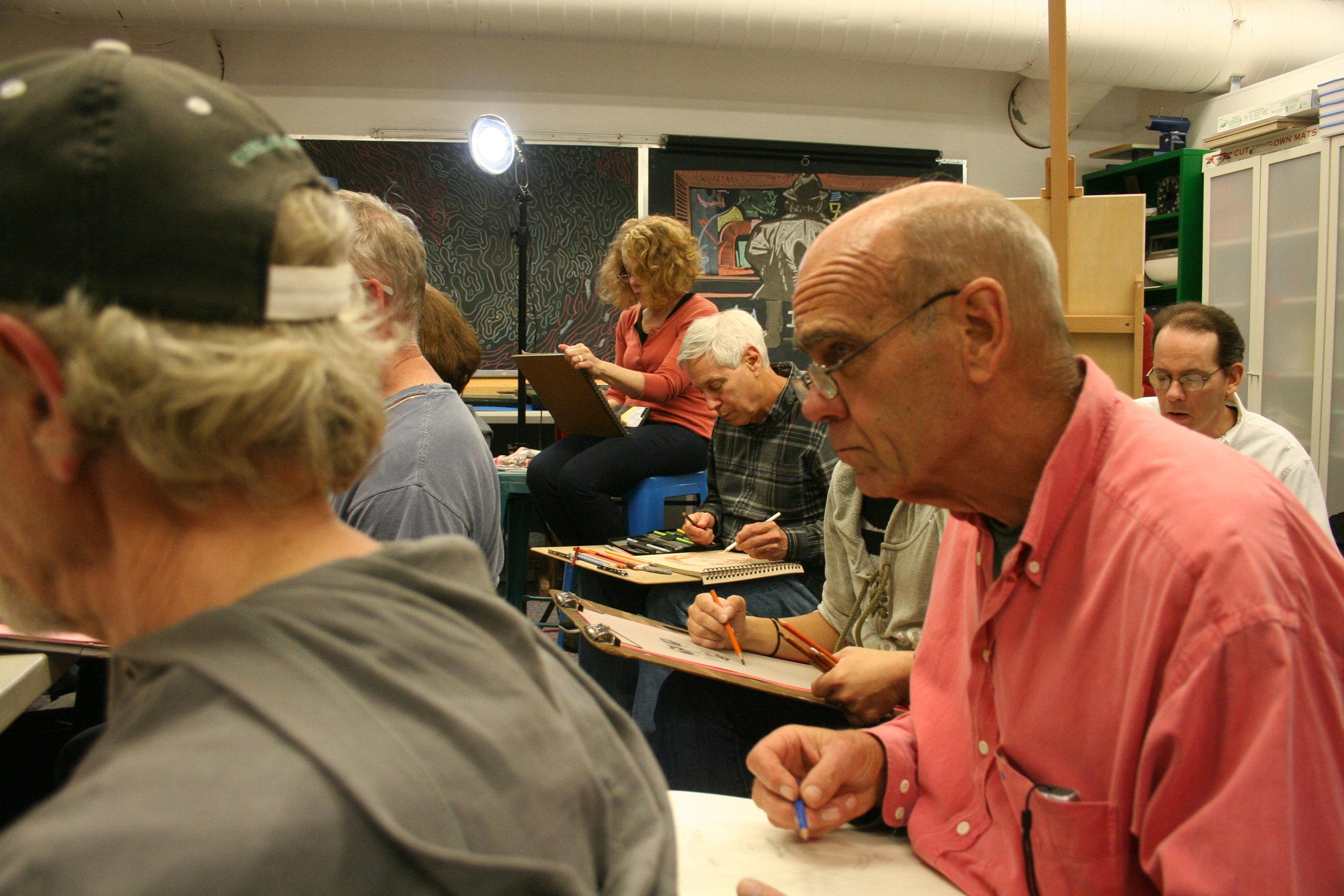 Bob Eggers drawing Elaina.