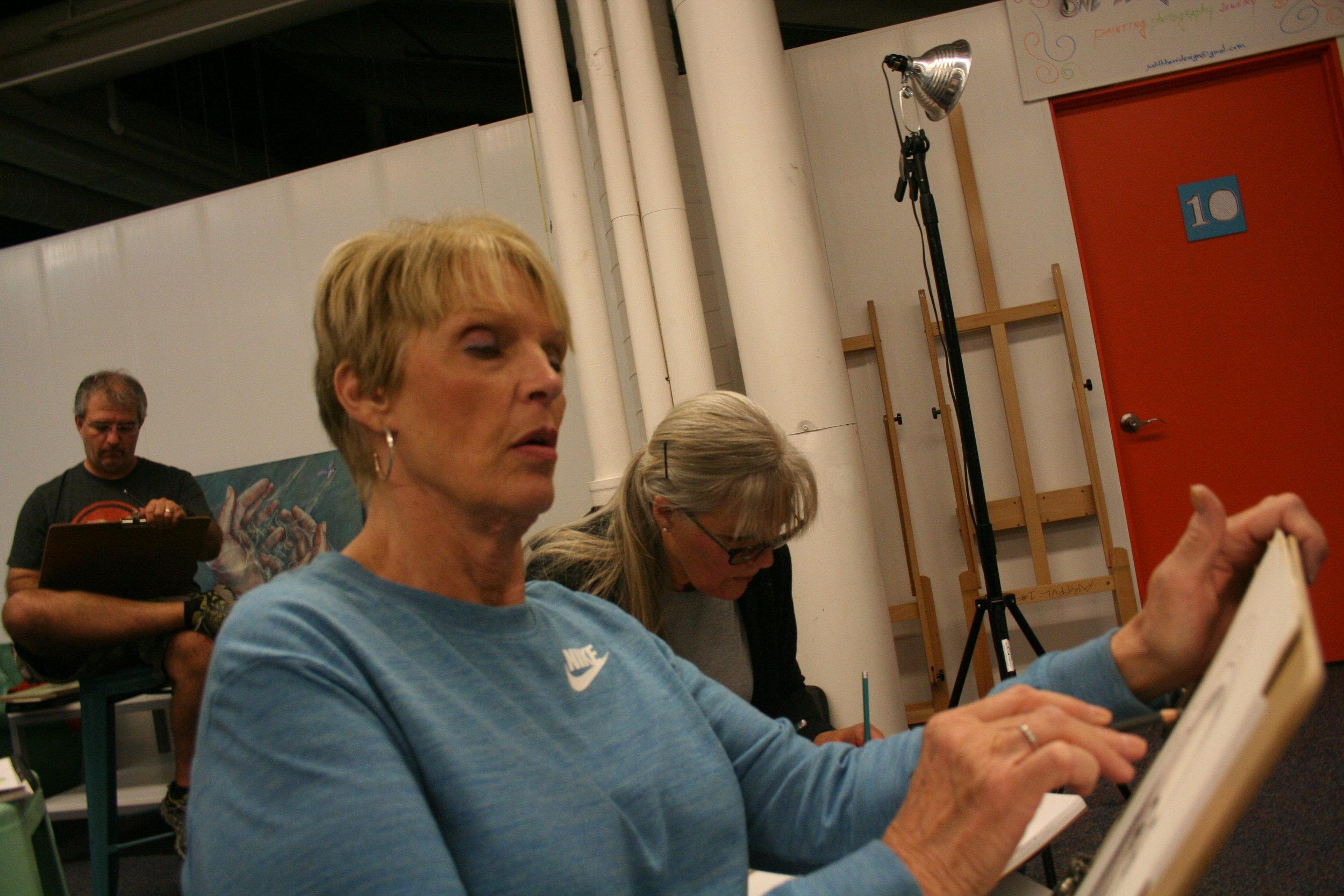 Wanda Williams drawing Elaina.