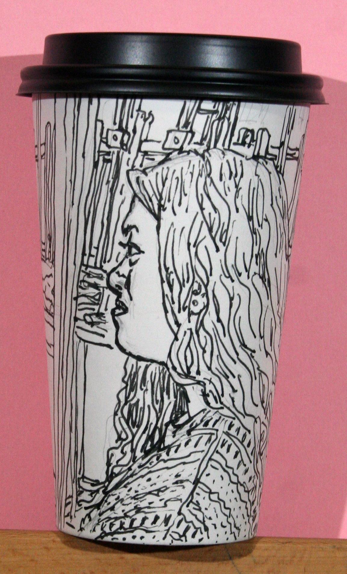 Jack Flotte did this coffee cup portrait of Maya.