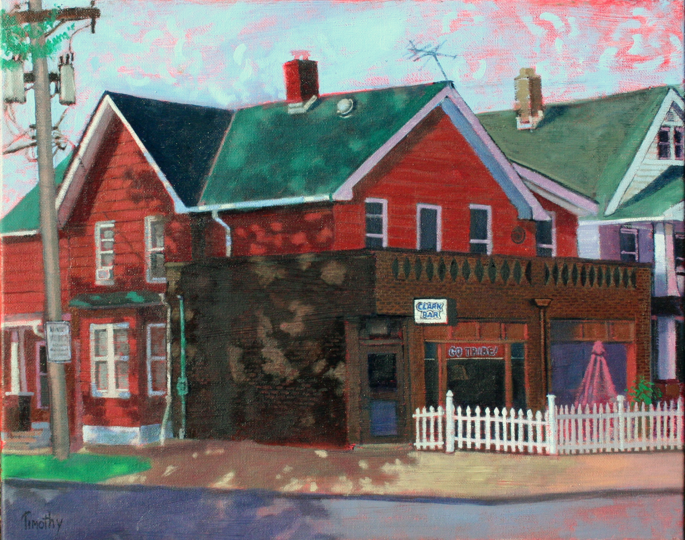 The Clark Bar, painted from across the street.