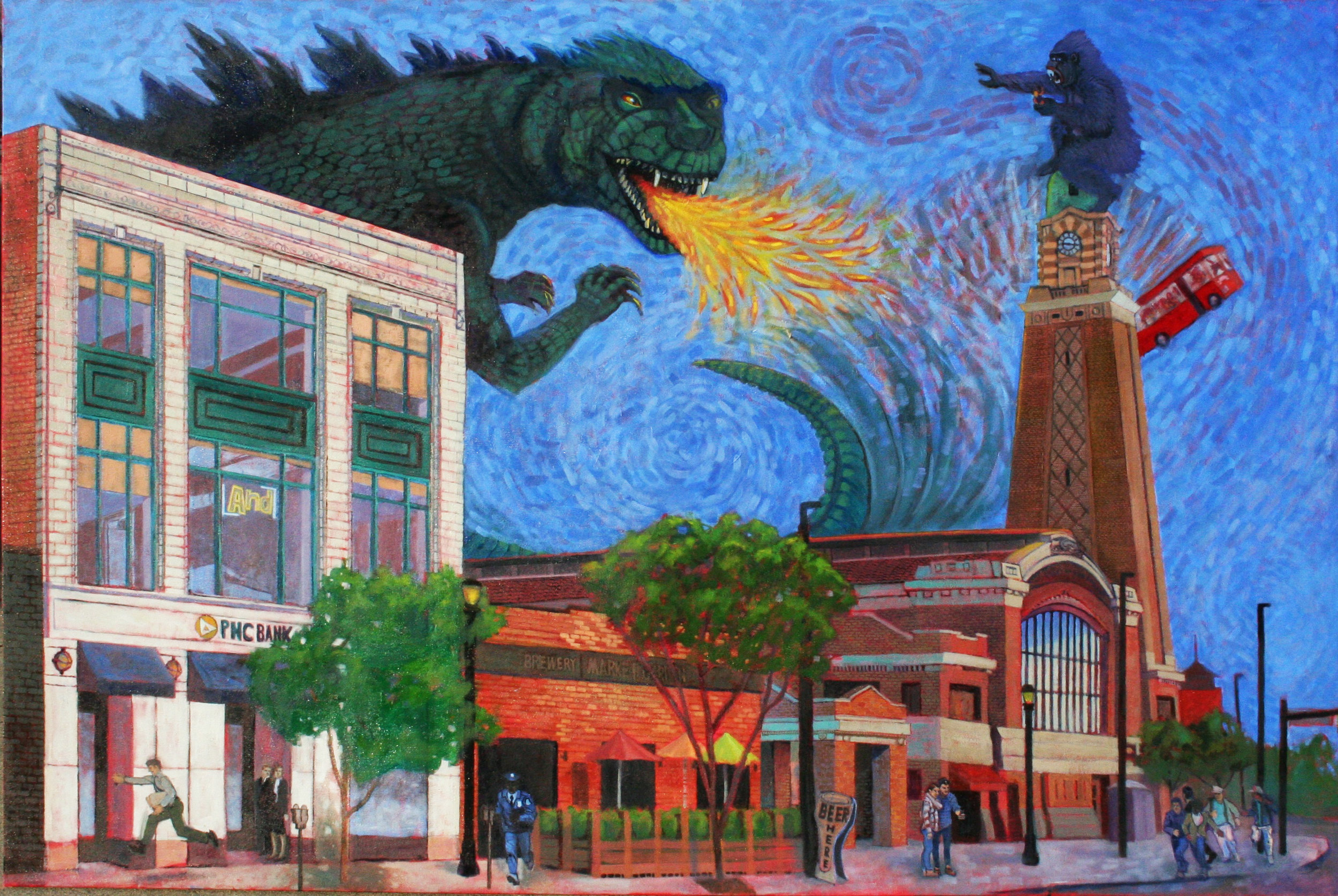 West Side Market in Cleveland Ohio. Painted from drawings done across the street.