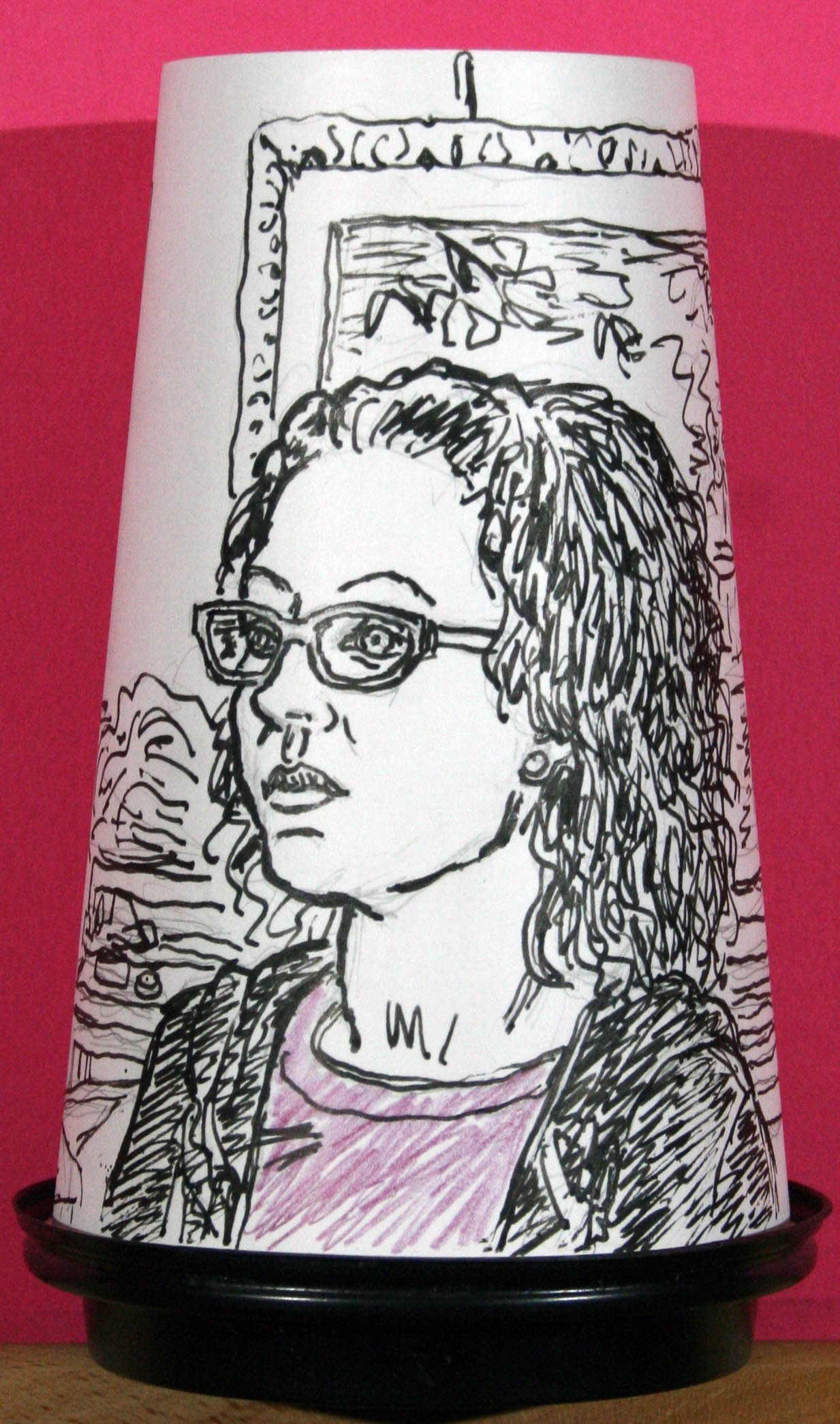 Jack Flotte did this ink coffee cup portrait.
