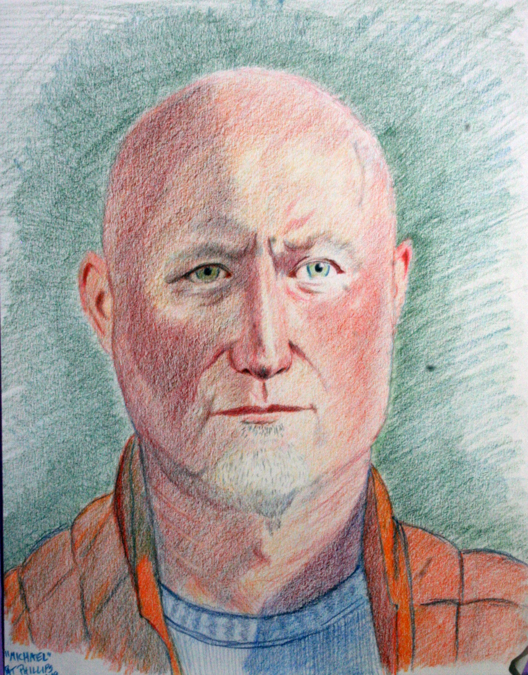 Pat Phillips did this colored pencil drawing.