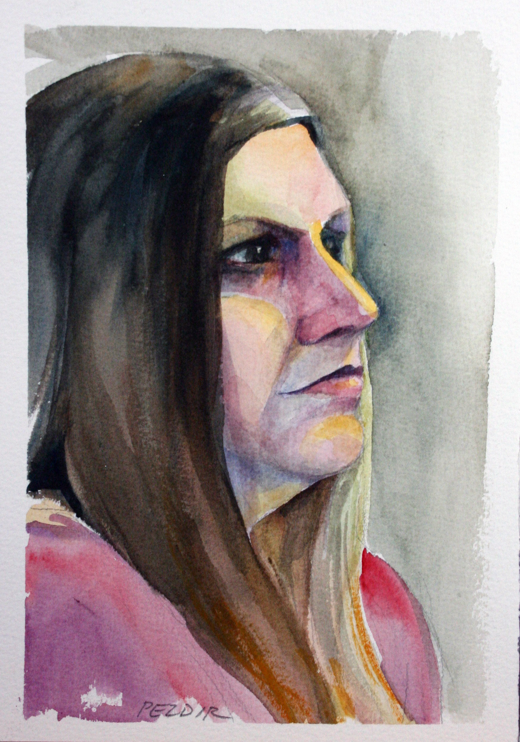 Judy Pezdir did this watercolor drawing.