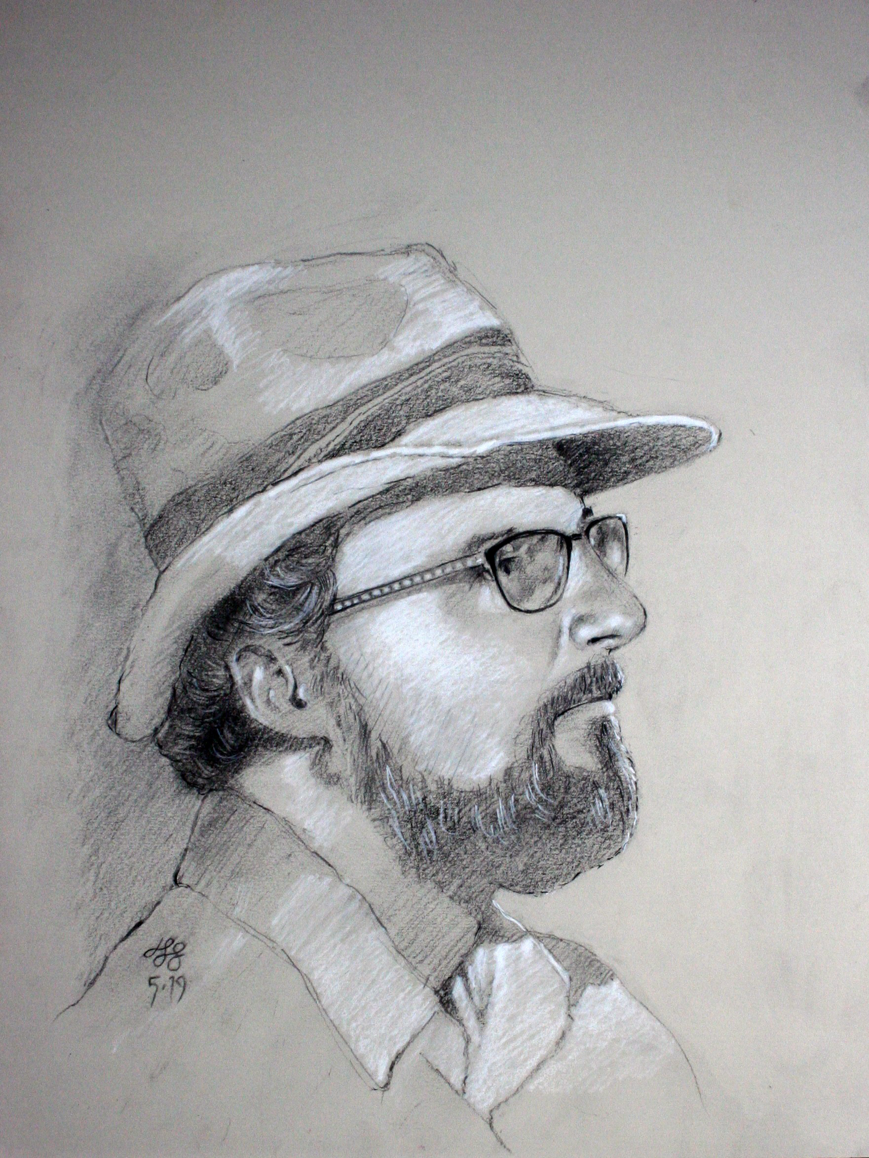 John Scavnicky did this conte drawing.