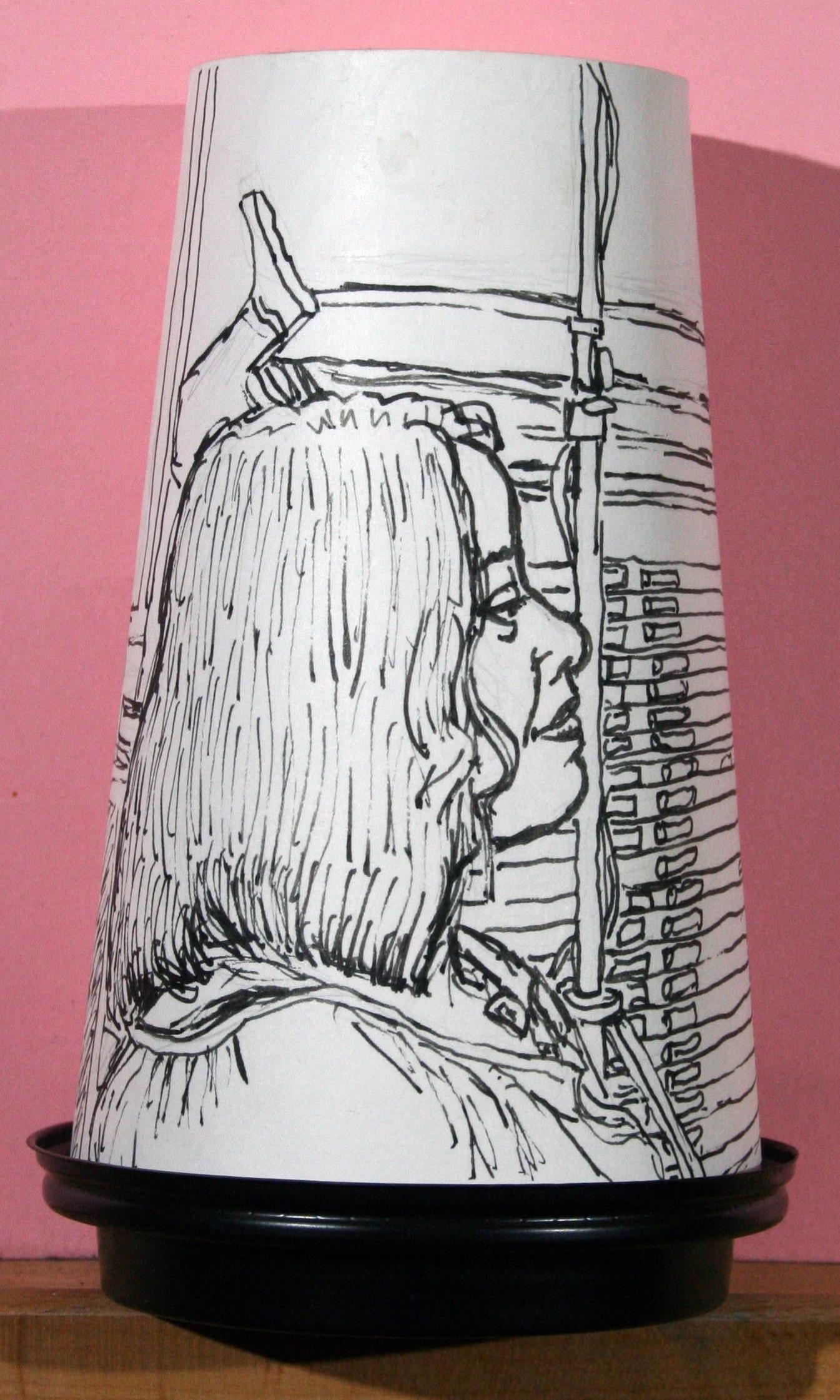 Jack Flotte's coffee cup portrait - ink