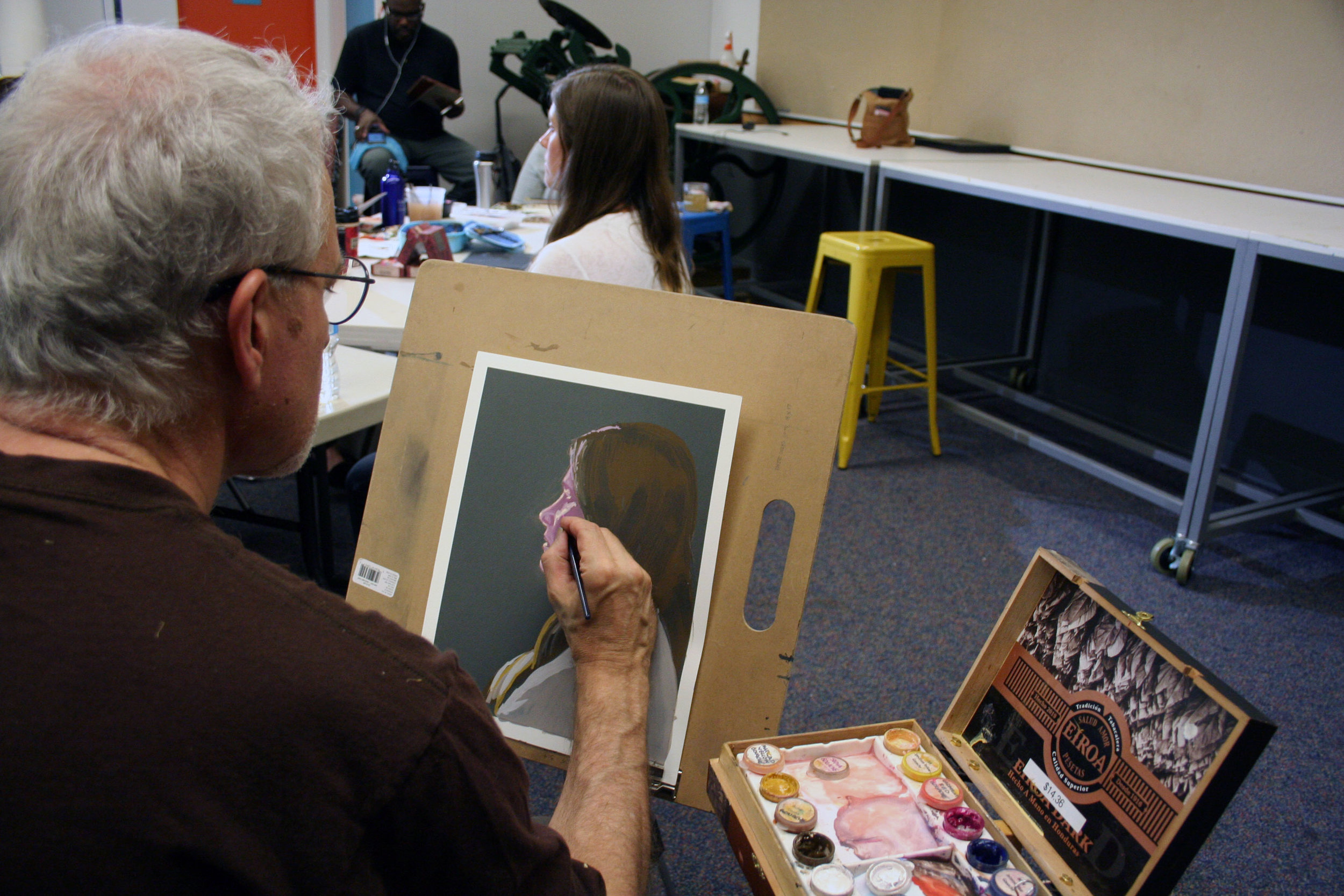 Duane working with gouache. Photo by Brian Pierce