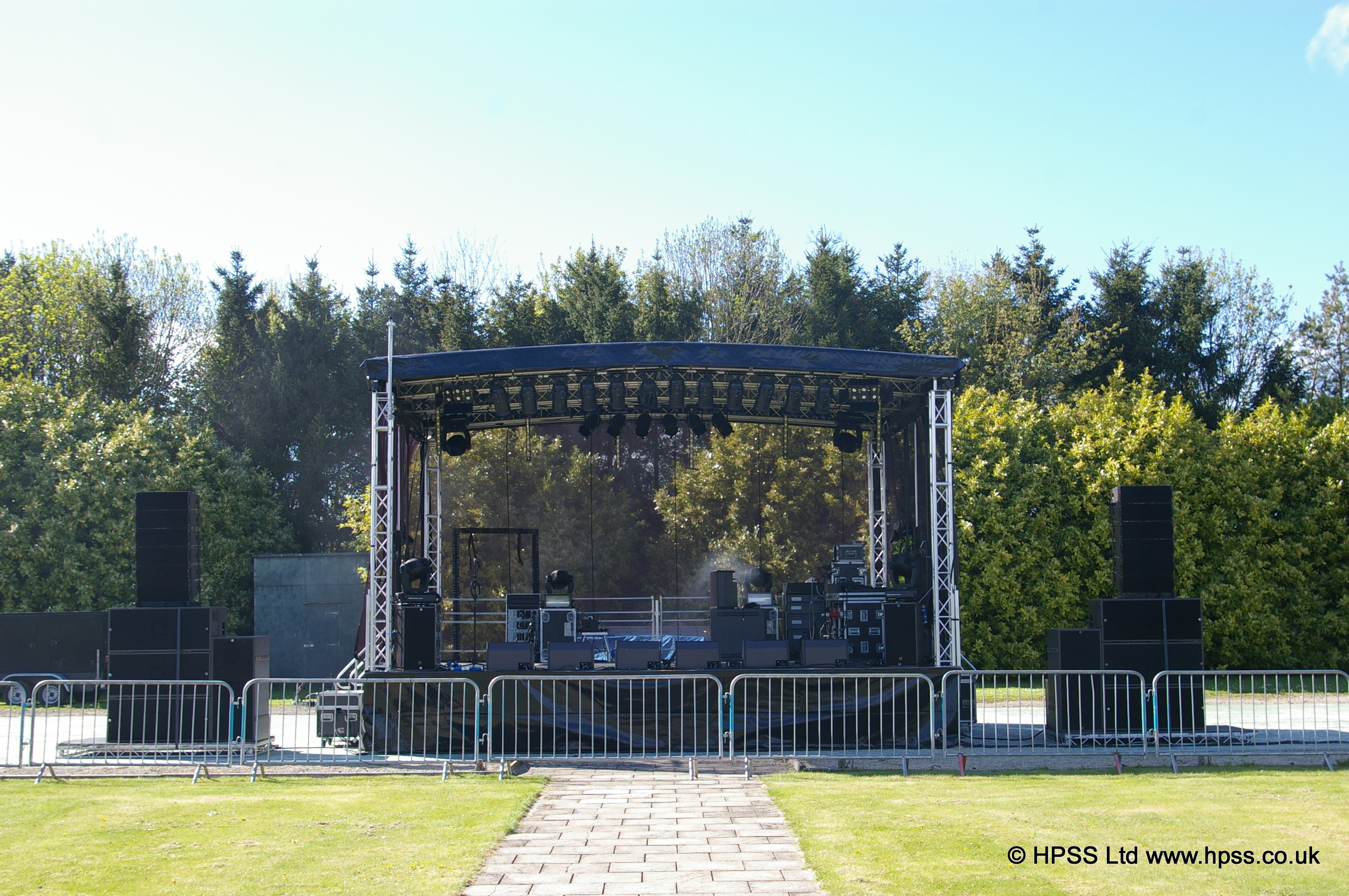Stage with PA system and lights