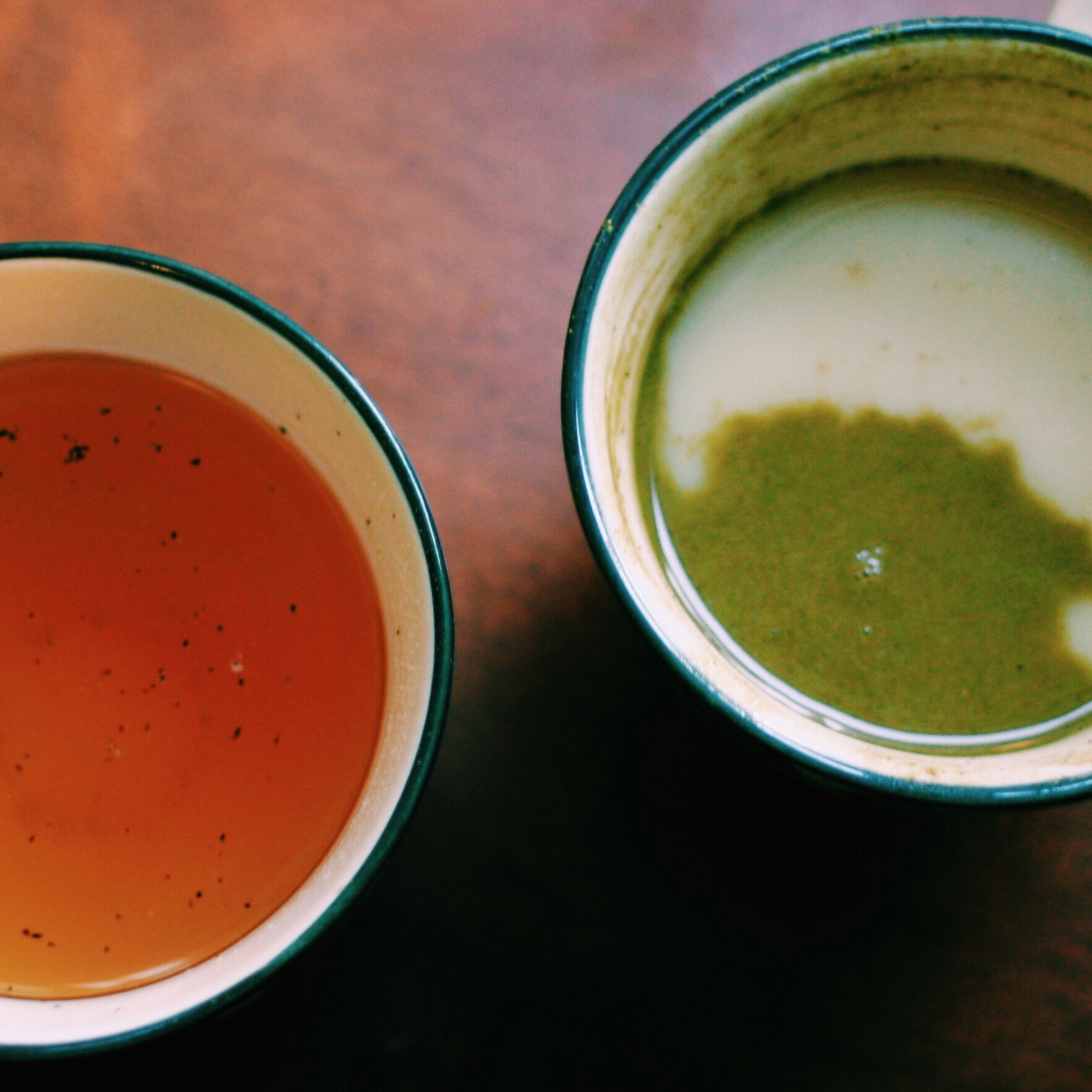 Homemade bone broth and matcha almond milk chai on my porch. Applause applause.