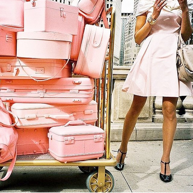 Yup, this is pretty much how I travel! @desertpopdesign #jetsetter #onthego #overpack #pink #bellmanplease #travel #style #ineedavacation
