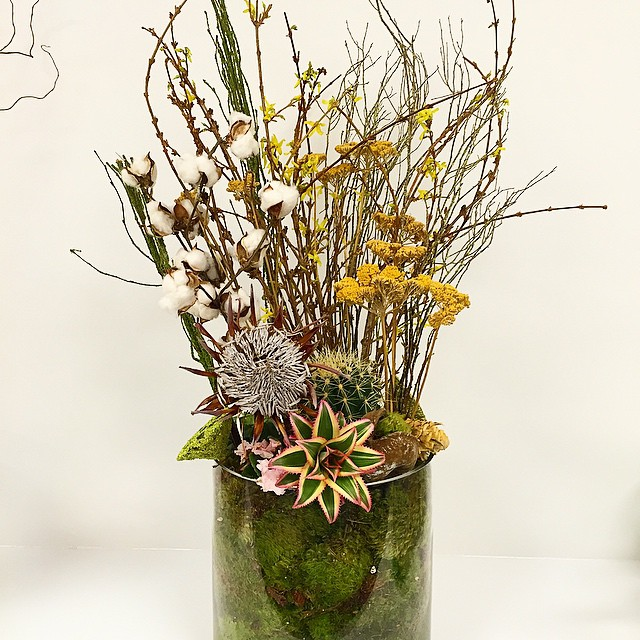A little cotton adds texture to this arrangement! @interfaceamericas #floral #arrangement #moodmoss #exotic #flowers #branches #event #showroom #mrsdovebelly