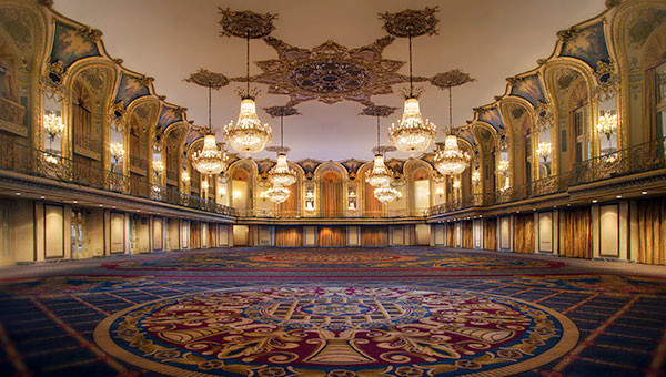 "The Grand Ballroom at  Hilton Chicago  is sure to get lots of ""likes"" especially with its storied past, as every U.S president has attended an event in the space. In addition, the stunning ballroom remains its original structure from 1927 and is completely free of pillars."