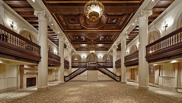 View the Victorian elegance of the historical Imperial Ballroom at the  Amway Grand Plaza Hotel  in Grand Rapids, Mich., and snap in Insta-worthy photo of the sprawling staircase and walnut ceiling with its unique gold leaf design. It was formerly known as the Old National Bank from 1853-1953 before being renovated into a photogenic meeting space.