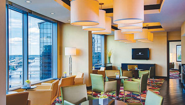 The  JW Marriott Grand Rapids  has hosted an increasing amount of small groups utilizing meeting spaces outside of the boardroom/ballroom. The View Room, the room overlooking the Grand River and city of Grand Rapids on the top floor of the hotel, is a popular space for small groups to rent by the hour. The space is the best shot in the hotel to get a panoramic photo of the city and Grand River.