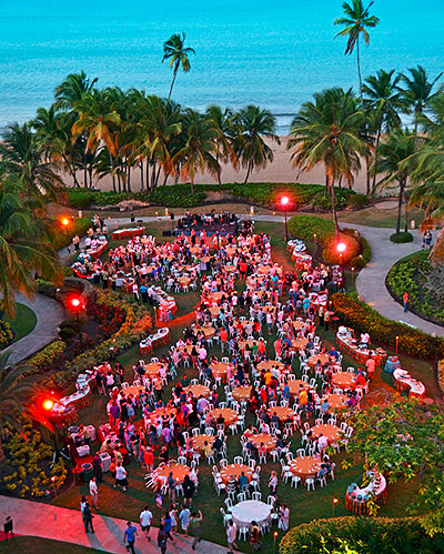With more than 100,000 square feet of both indoor and outdoor facilities, the  Wyndham Grand Rio Mar  boasts one of the largest ballrooms in the Caribbean. With the option to host a group banquet steps away from the white sands of the Rio Mar Beach, there is no shortage of amazing shareable shots.