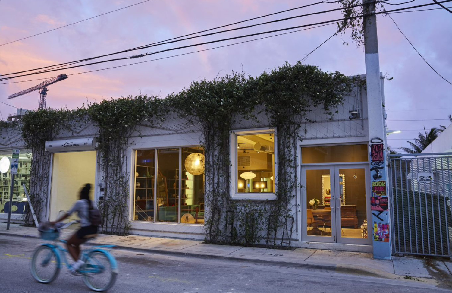 Pink skies, a cyclist, a touch of street art pretty much summarizes the good life in Wynwood.