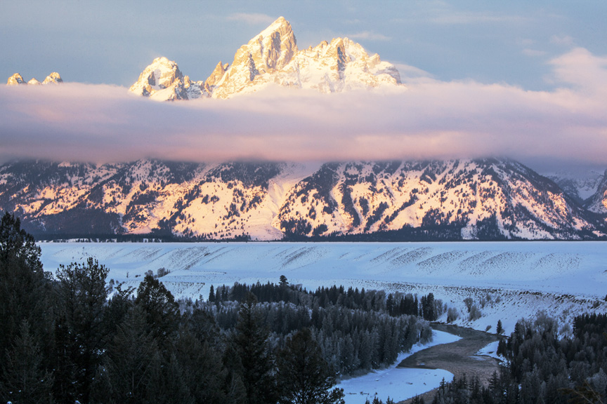 Winter sunrise on the Grand Tetons