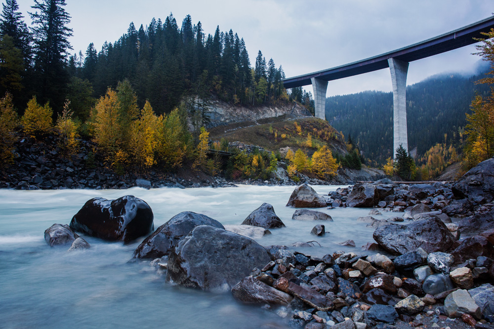 The Trans Canada Highway Park Bridge over the Kicking Horse River, British Columbia, Canada.