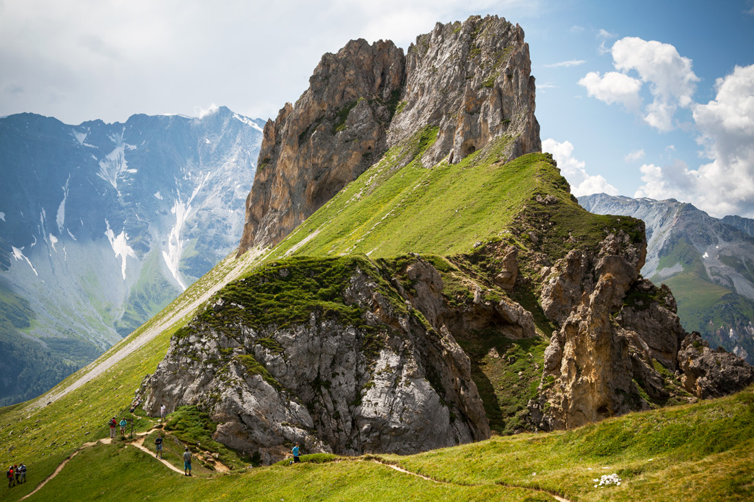 The Aiguille Rousse a formidable landmark at 2488, towers over the Tarentaise Valley.