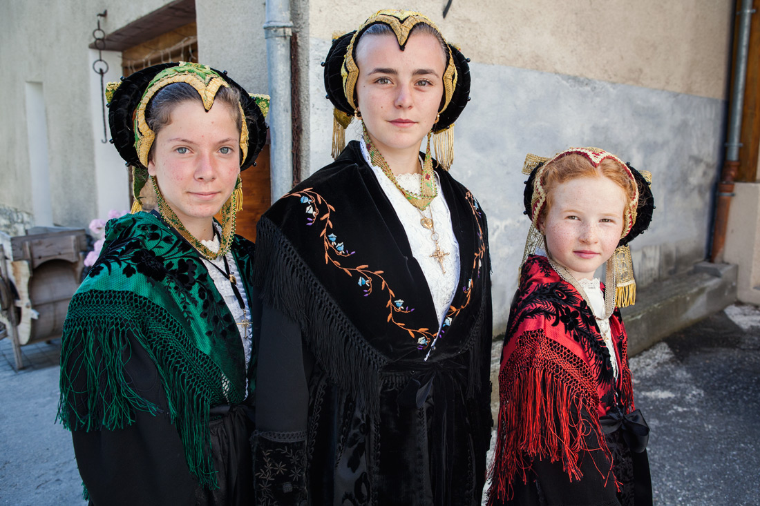 Ladies in traditional costume of the Tarentaise Valley, France.