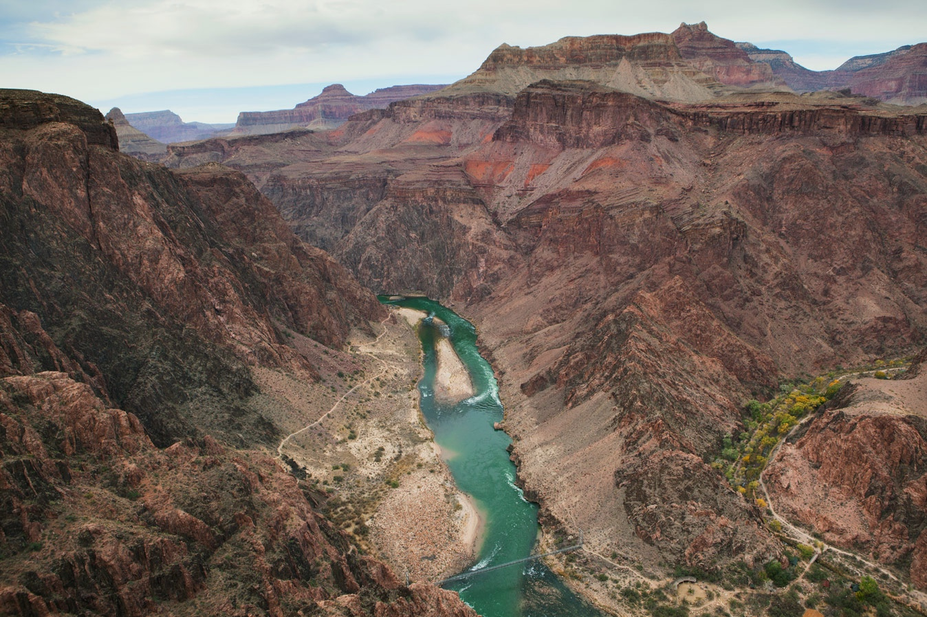 The Colorado river flows through the Inner Gorge of the Grand Canyon.