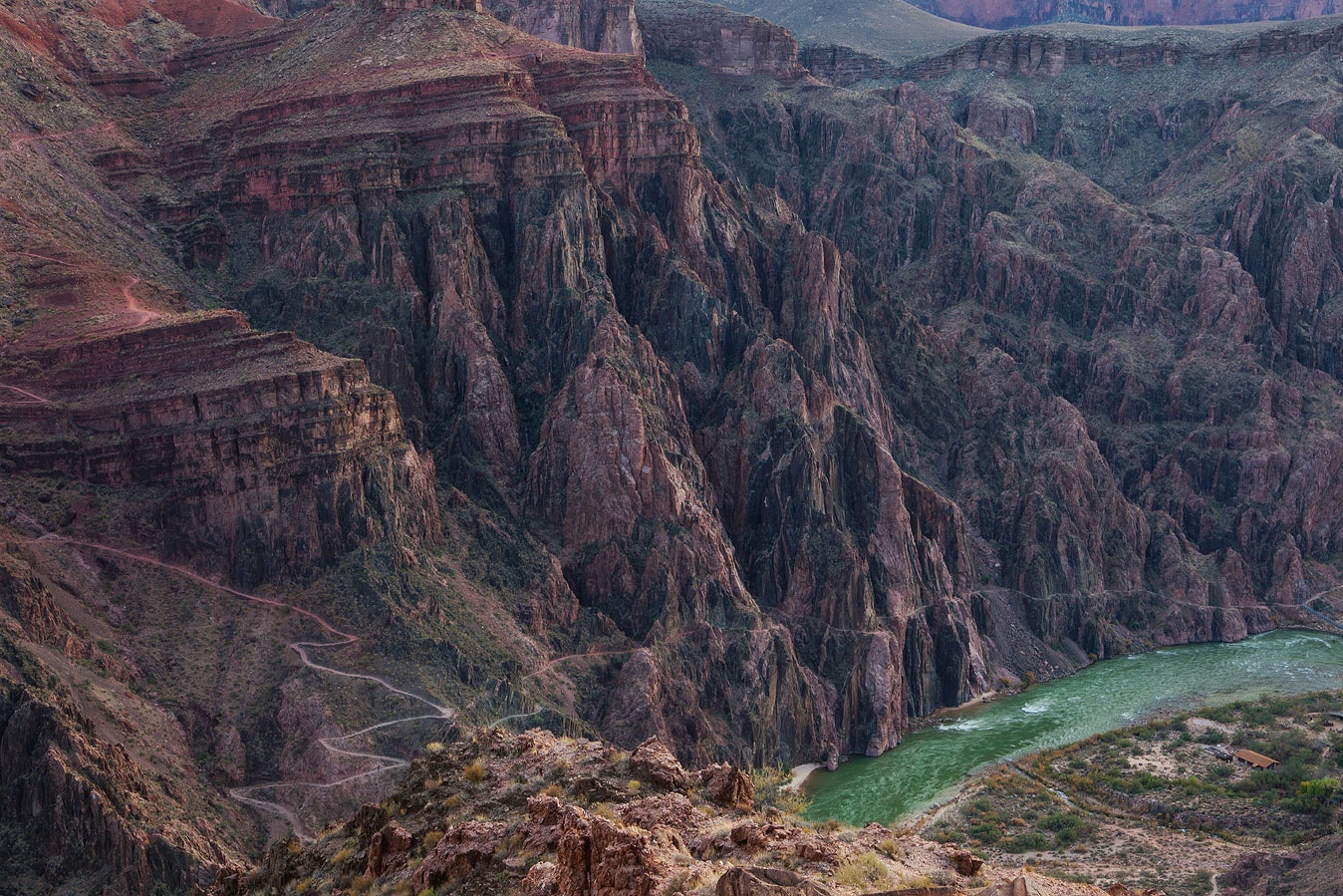 The Colorado River and the Inner Gorge of the Grand Canyon.
