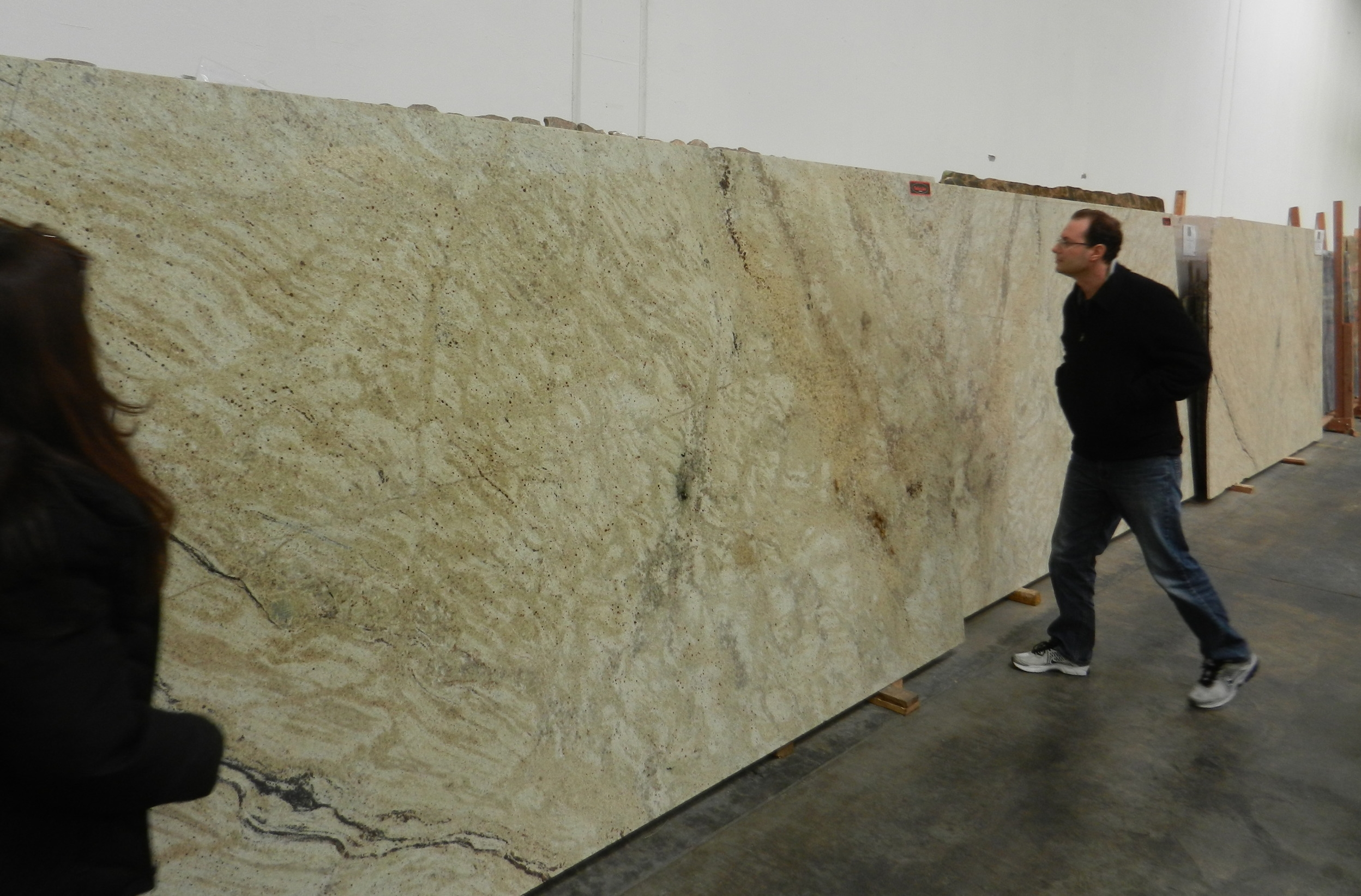 Justin selecting slabs of stone