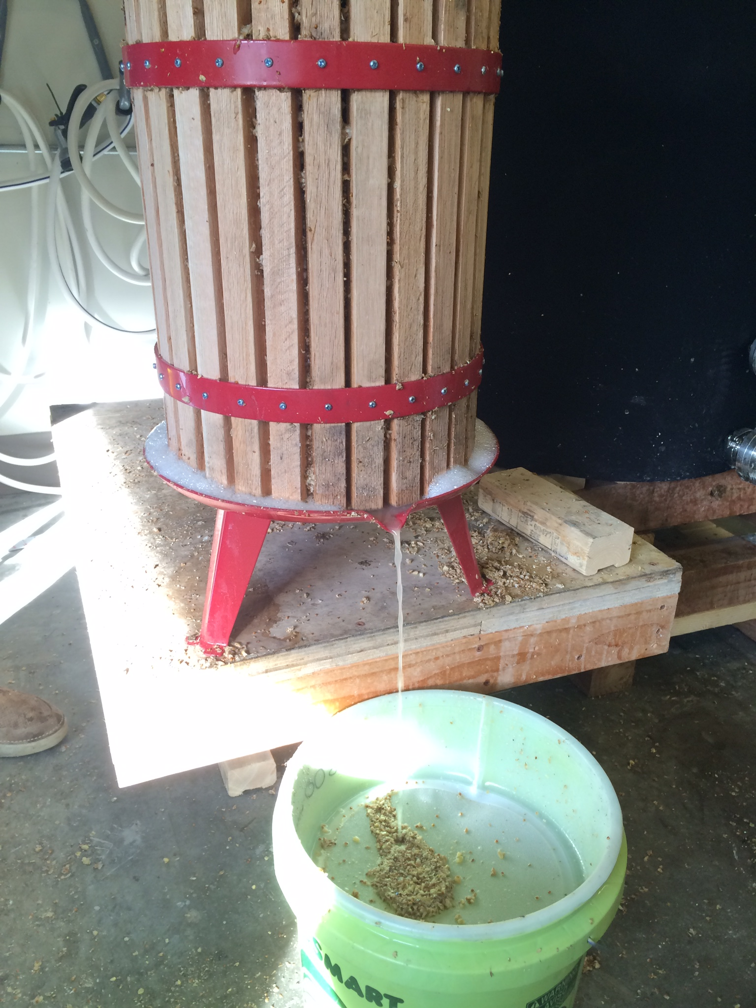 Pressing the mashed grains
