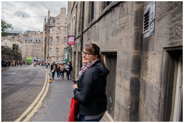 Sarah walking to the Grass Market in Edinburgh, Scotland