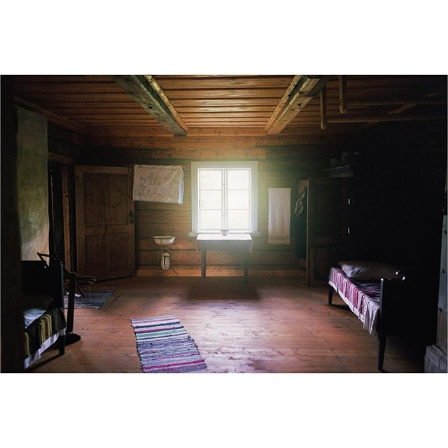 [Timber Framing and Log Cabin workshop in Ratnieki, Latvia.] ::: Here is a photo of the interior. It's simple and modest. It smells like fresh air and sappy wood. It's incredibly comfortable inside despite having none of the modern tech that we build with. ::: #timberframe #northmen #latvia #logcabin #handtoolsonly #film #ricohgr1 #portra400 #filmisnotdead #filmphotography