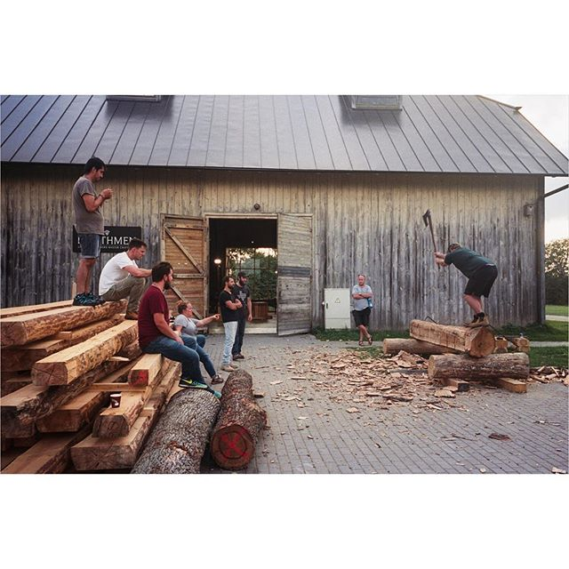 [Timber Framing and Log Cabin workshop in Ratnieki, Latvia.] ::: Working hard in the yard. ::: #timberframe #northmen #latvia #logcabin #handtoolsonly #film #ricohgr1 #portra400 #filmisnotdead #filmphotography