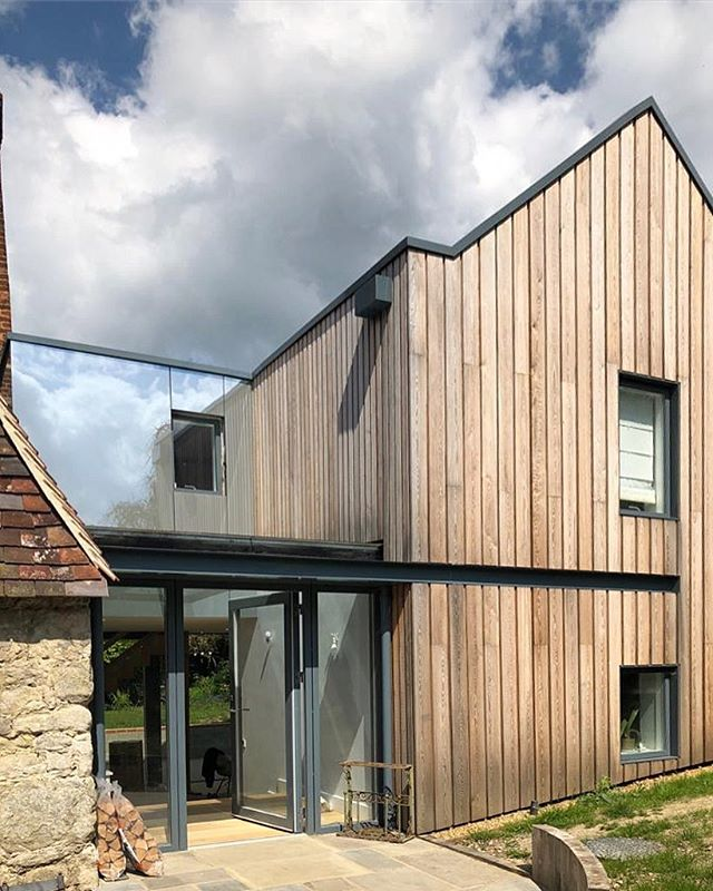 Always exiting to pop in to site!  We can't wait to have more images of this stunning contemporary extension to the beautiful grade II listed building published on our website. After a couple of months the Siberian larch is gaining the perfect and aimed greyish shade.  #architects #architecture #kent #uk #bespoke #contemporary #tradition #residentialarchitecture #architecturaldesign