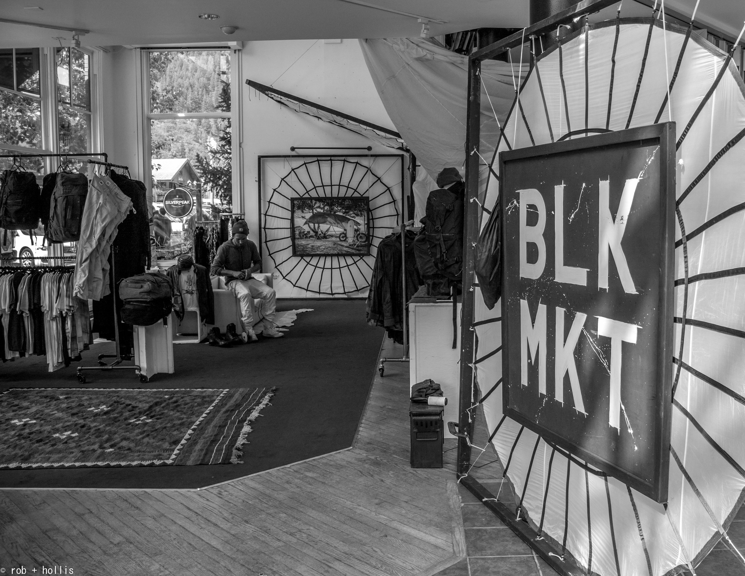 The BLK MKT Team has set up in Boogie's Aspen for Labor Day weekend