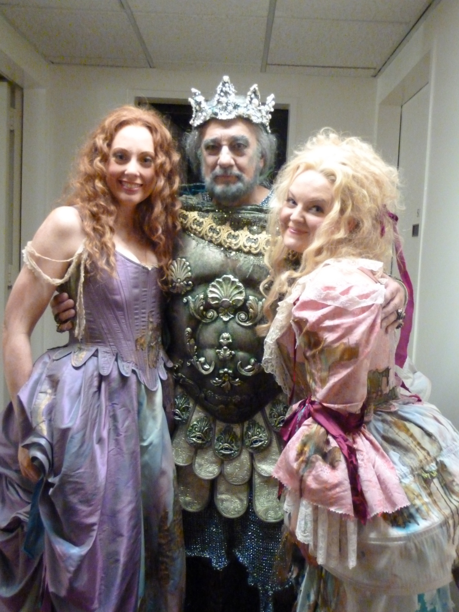 Elizabeth DeShong backstage with Placido Domingo and Layla Clare at The Met for 'The Enchanted Island', 2011