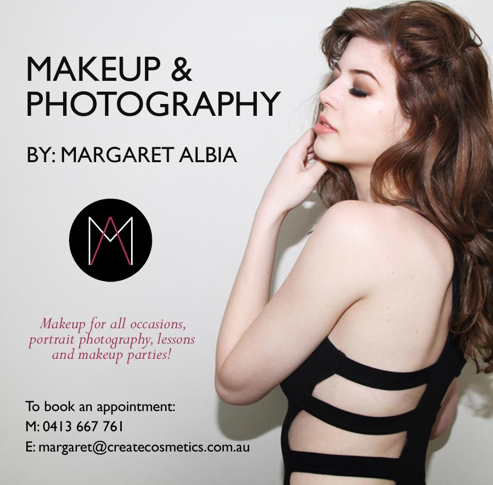 Email: margaret@margaretalbia.com  Phone: +61 (0) 413 667 761  Facebook: www.facebook.com/margaretalbiamakeup  Instagram: @margaretalbia  Pinterest:www.pinterest.com/margaretalbia