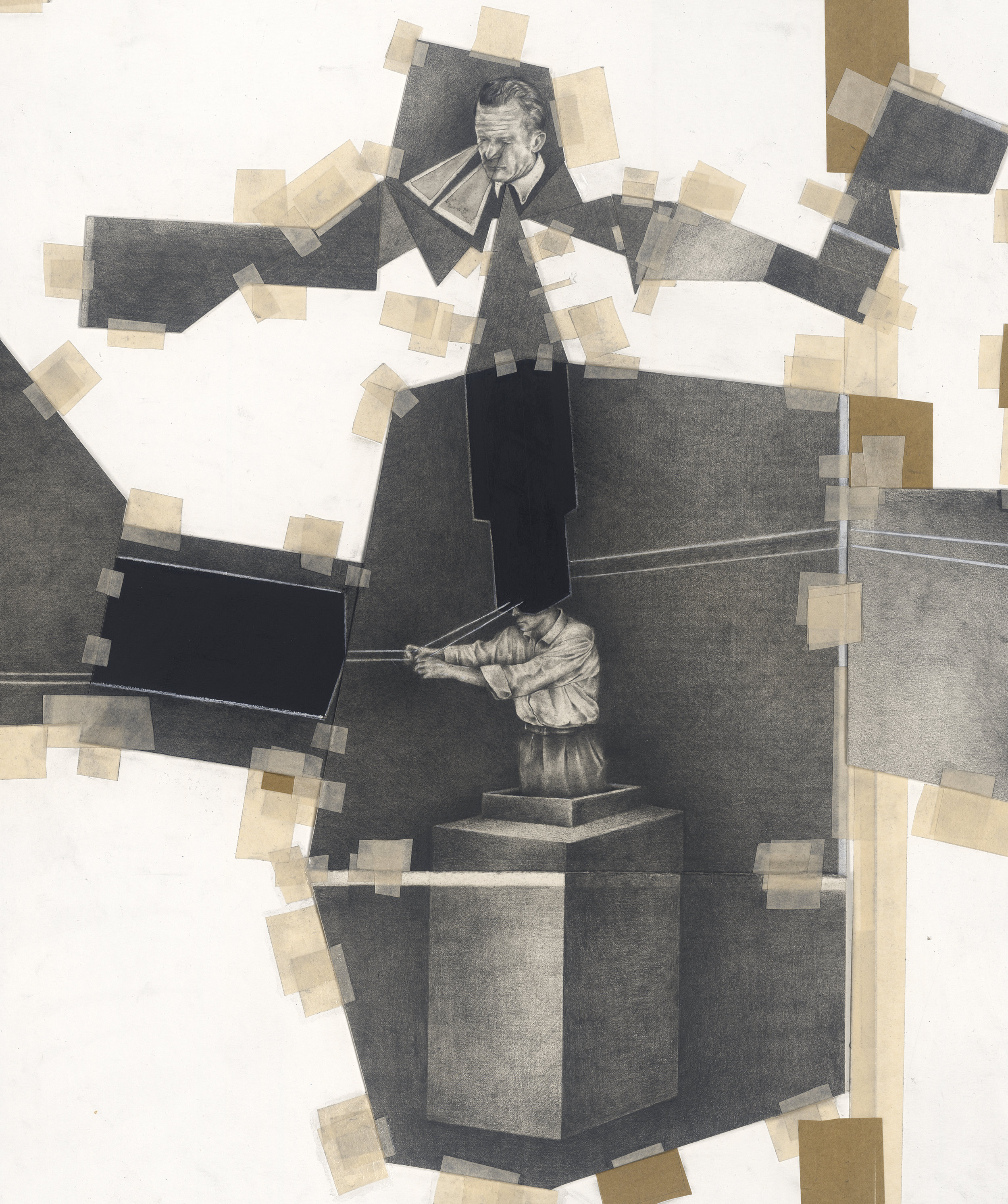"""Detail from Black Geometry """"Long Drawing"""" Graphite, Charcoal and tape on paper. 1700x600mm."""
