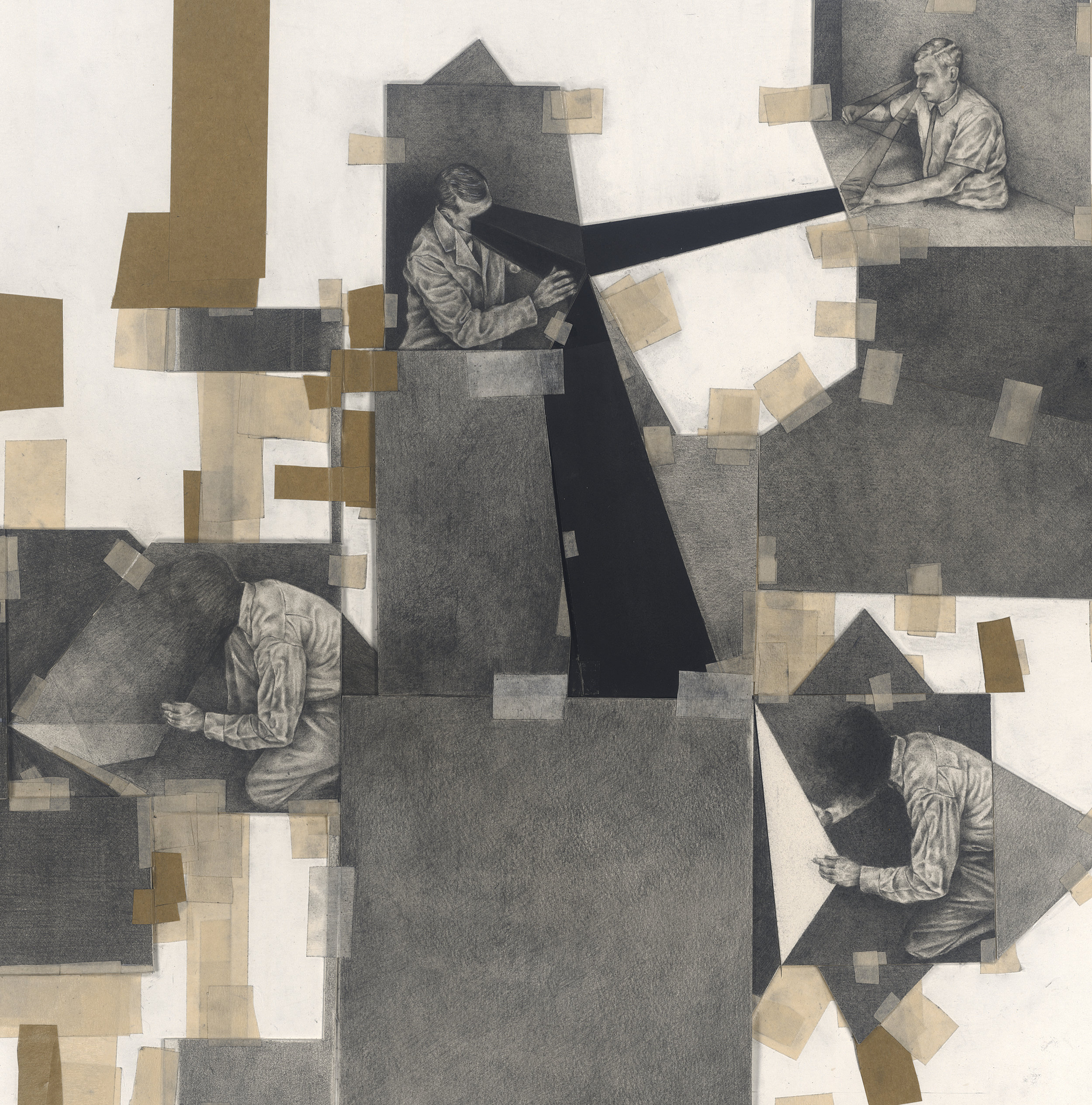 """Detail From Black Geometry """"Long Drawing""""Graphite, Charcoal and tape on paper. 1700x600mm."""