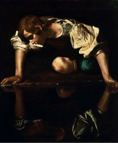Narcissus by Caravaggio depicts Narcissus gazing at his own reflection.